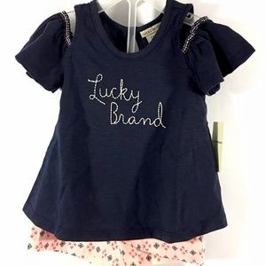 Lucky Brand Girl 24M  Cold Shoulder Top And Shorts